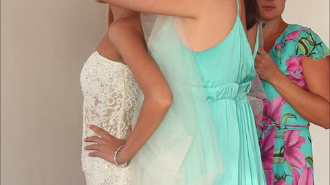 bride in lace slinky slender white dress Footage