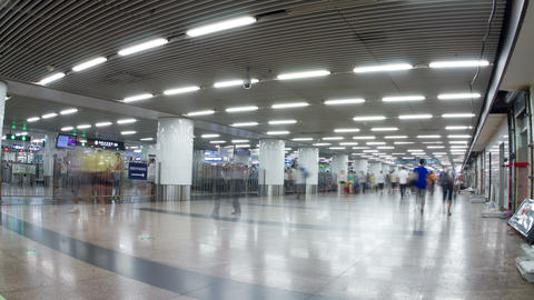 Inside view of Beijing west railway station 4k Footage