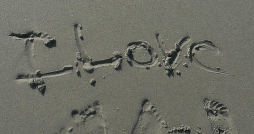 2011 Love Written in the Sand at the Beach, 4K Footage