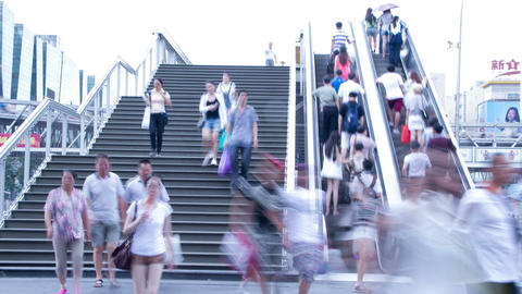 Crowded people in the stairs 4k Footage