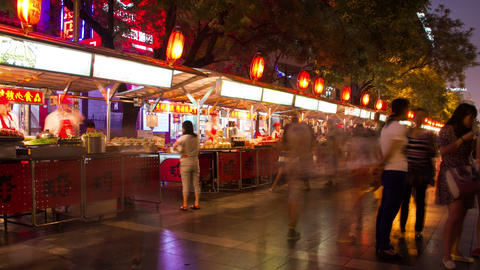 Donghuamen Snack Street At Night 4k stock footage