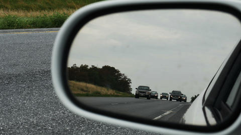 2037 Cars Driving on Highway Rear View Mirror, HD Footage
