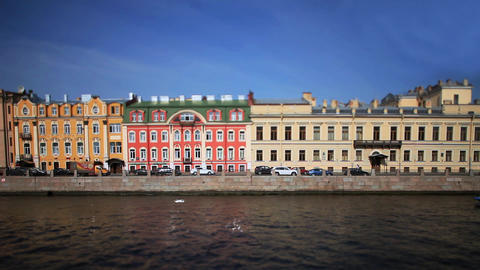 travel on Moika river of St. Petersburg Film Tilt Stock Video Footage