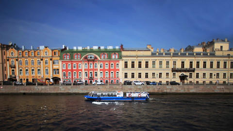 travel on Moika river of St. Petersburg Film Tilt Footage