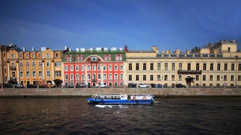 travel on Moika river of St. Petersburg Film Tilt Footage
