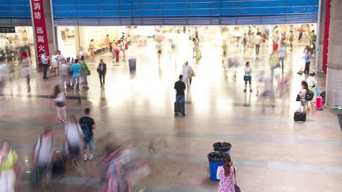 Inside view of Beijing west railway station 4k Footage
