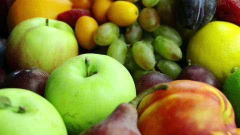 Different Fruits and Berries. Close-Up Stock Video Footage