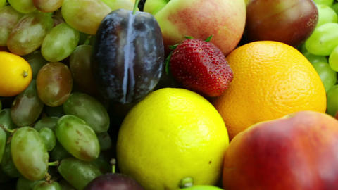 Different Fruits And Berries. Close-Up stock footage