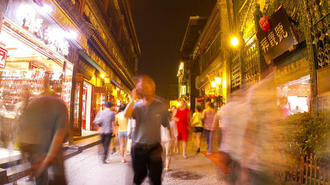 Qianmen pedestrian street at night HD Footage