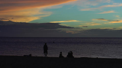 silhouettes of people on the beach during sunset Stock Video Footage