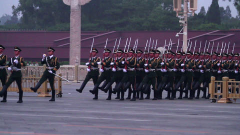 National Flag Guard Of Honour In Tiananmen Square  stock footage