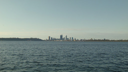 View Across the Swan River With the Perth Skyline Stock Video Footage