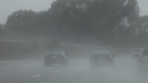 heavy rain on a freeway Stock Video Footage