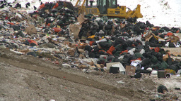 HD2008-12-8-4 landfill garbage truck Stock Video Footage