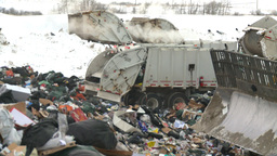 HD2008-12-8-10 landfill caterpiller g truck Stock Video Footage
