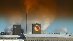 HD2008-12-9-4 Smoke stacks winter CK filter Stock Video Footage