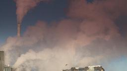HD2008-12-9-8 Smoke stacks winter CK filter Stock Video Footage
