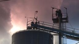 HD2008-12-9-26 Smoke stacks winter CK filter Stock Video Footage