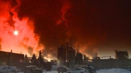 HD2008-12-9-32 Smoke stacks winter CK filter Stock Video Footage