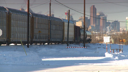 HD2008-12-9-38 intermodal frieght train Cgy in BG Stock Video Footage