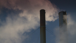 HD2008-12-9-40 Smoke stacks winter CK filter Stock Video Footage