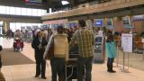 HD2008-12-10-7 TL Airport Departures People Line Up stock footage