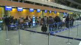 HD2008-12-10-9 TL Airport Departures People Line Up stock footage