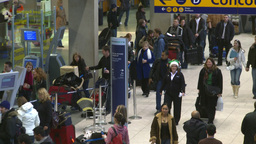 HD2008-12-10-17 Airport departures people line up Footage