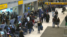 HD2008-12-10-17 Airport departures people line up Stock Video Footage
