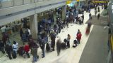 HD2008-12-10-19 TL Airport Departures People Line Up stock footage