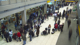 HD2008-12-10-19 TL Airport departures people line up Stock Video Footage