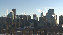 HD2008-12-10-33 winter Calgary downtown skyline Footage