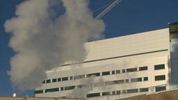 HD2008-12-11-2 steam exhaust bdg winter Stock Video Footage
