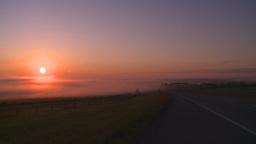 HD2008-7-1-8 sunrise fog highway Stock Video Footage