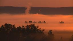 HD2008-7-1-12 sunrise fog gas plant Stock Video Footage