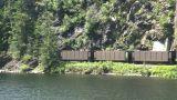 HD2008-7-1-16 coal train lake Stock Video Footage