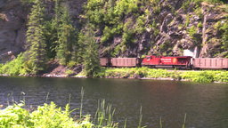 HD2008-7-1-18 coal train lake Stock Video Footage
