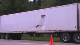 HD2008-7-1-28 semi trailer torn damaged Stock Video Footage