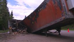 HD2008-7-1-32 semi trailer fire Stock Video Footage