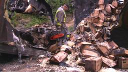 HD2008-7-1-34 semi trailer fire Stock Video Footage