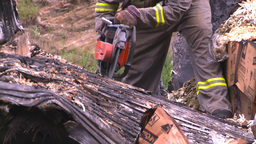 HD2008-7-1-36 semi trailer fire cutting saw Footage