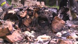 HD2008-7-1-38 semi trailer fire Stock Video Footage