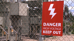 HD2008-7-1-47b high voltage signZ Stock Video Footage