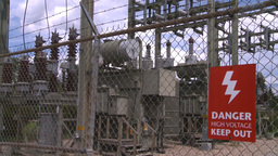 HD2008-7-1-49 high voltage sign Stock Video Footage