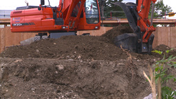 HD2008-7-1-55 backhoe scoop Stock Video Footage