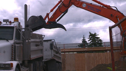 HD2008-7-1-57 backhoe dumptruck Stock Video Footage
