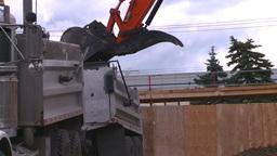 HD2008-7-2-2 backhoe dump truck Stock Video Footage