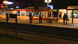 HD2008-7-2-38 LRT leaves stn night Stock Video Footage