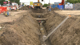 HD2008-7-7-14 backhoe trenching Z Stock Video Footage