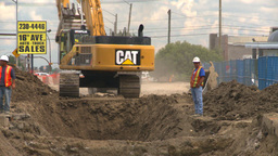 HD2008-7-7-18 backhoe trenching Stock Video Footage